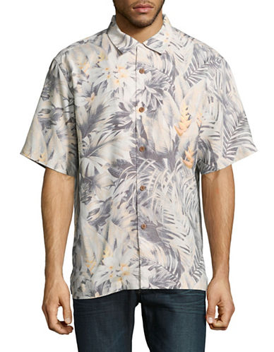 Tommy Bahama Botanico Jungle Short Sleeve Silk Shirt-YELLOW-Small