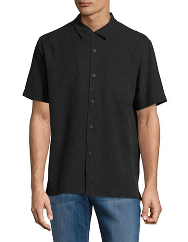Tommy Bahama Coastal Fronds Silk Sport Shirt-BLACK-X-Large