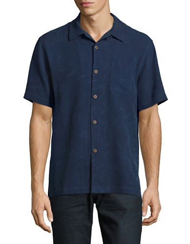 Tommy Bahama Coastal Fronds Silk Sport Shirt-BLUE-Large