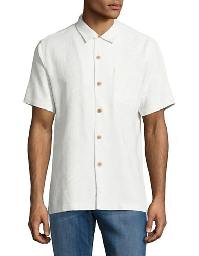 Tommy Bahama Coastal Fronds Silk Sport Shirt-OFF WHITE-Small