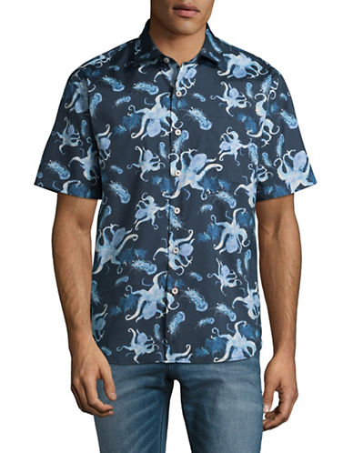 Tommy Bahama Cracken Up Short Sleeve Cotton-Silk Shirt-BLUE-Large