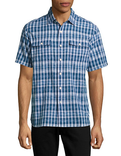 Tommy Bahama The Ikats Meow Short Sleeve Shirt-BLUE-Small