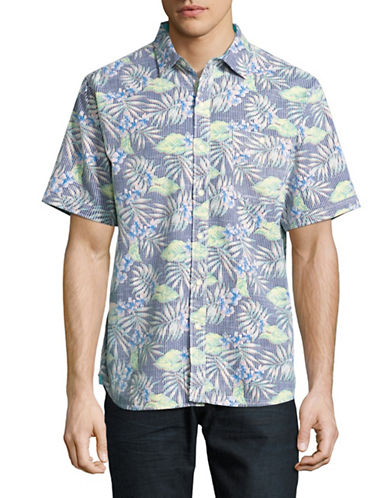 Tommy Bahama Between Two Fronds Sport Shirt-BLUE-Large