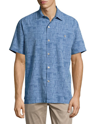 Tommy Bahama Thatch Of The Day Short Sleeve Shirt-BLUE-Small