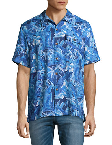 Tommy Bahama Oasis Blooms Short Sleeve Silk-Blend Shirt-BLUE-Small