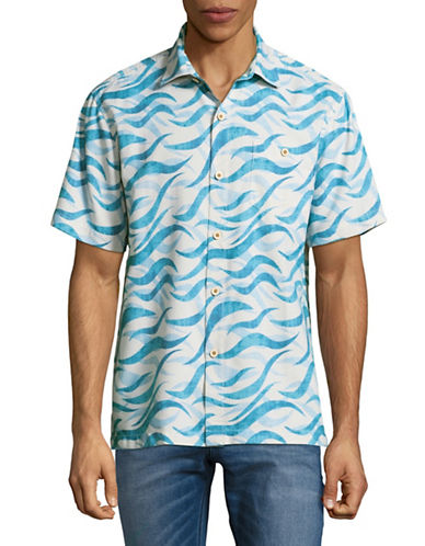 Tommy Bahama Retsina Waves Short-Sleeve Silk Shirt-BLUE-X-Large
