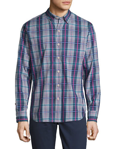 Tommy Bahama Madras Plaid Sport Shirt-DARK BLUE-Small