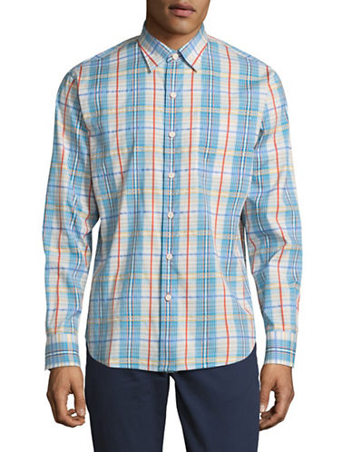 Tommy Bahama Madras Plaid Sport Shirt-BLUE-Small