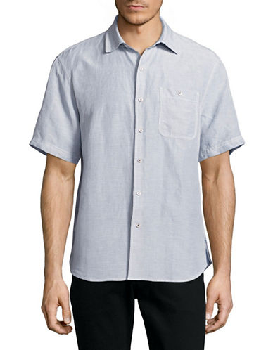 Tommy Bahama Sand Short Sleeve Linen-Blend Check Shirt-GREY-Small