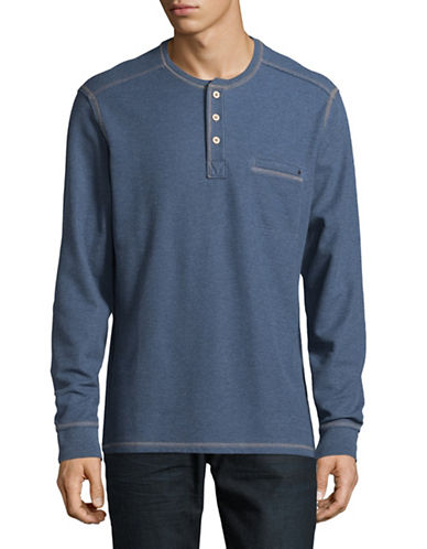 Tommy Bahama Island Thermal Henley T-Shirt-BLUE-Large