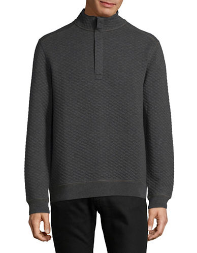 Tommy Bahama Quilted Half Zip Pullover-CHARCOAL-Large