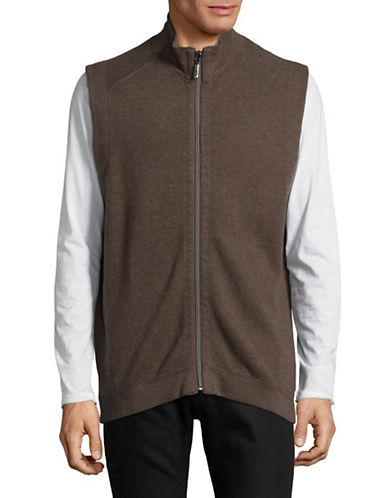 Tommy Bahama Reversible Cotton Vest-BROWN-X-Large