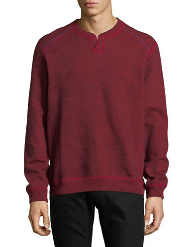 Tommy Bahama Heathered Split Neck Sweater-RED-Medium