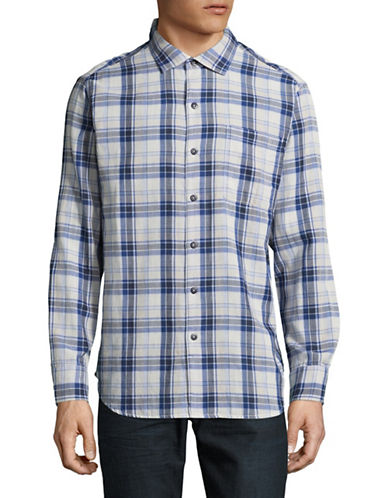 Tommy Bahama Plaid Sport Shirt-DARK BLUE-Small