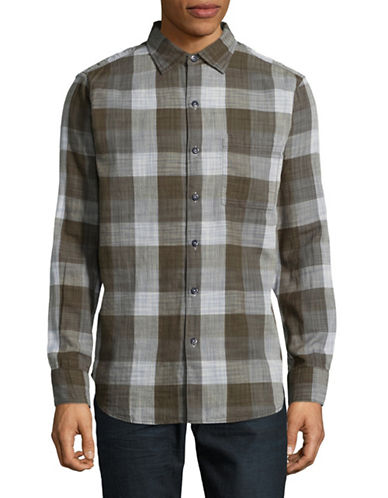 Tommy Bahama Dual Lux Plaid Sport Shirt-GREY-Large