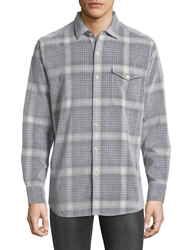 Tommy Bahama Paniolo Plaid Cotton Sport Shirt-BROWN-X-Large