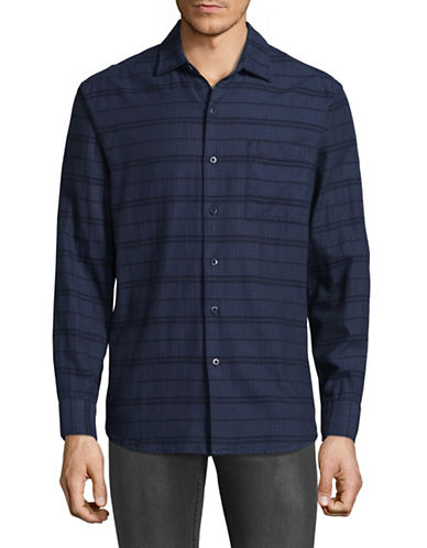 Tommy Bahama Tan-Tan Stripe Cotton Sport Shirt-BLUE-Small