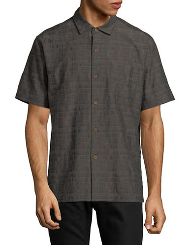 Tommy Bahama Getaway Grid Sports Shirt-BLACK-Small