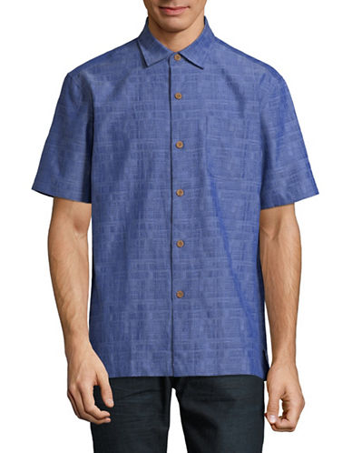 Tommy Bahama Getaway Grid Sports Shirt-BLUE-Small