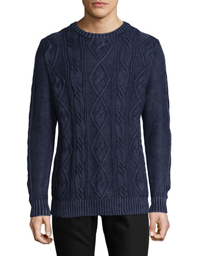 Tommy Bahama Cable Knit Crew Pullover-BLUE-Medium