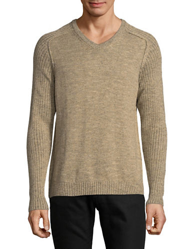 Tommy Bahama Gran Cable Knit V-Neck Sweater-BROWN-Medium