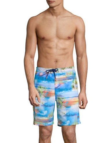 Tommy Bahama Baja Electric Beach Shorts-BLUE-Small