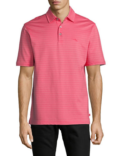 Tommy Bahama New On Par Stripe Polo Shirt-CHERRY PINK-Large