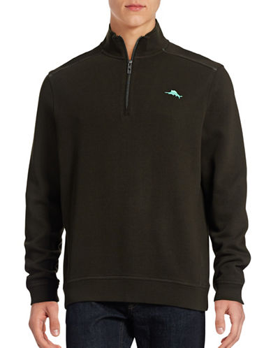 Tommy Bahama Nassau Half-Zip Sweater-BLACK-X-Large