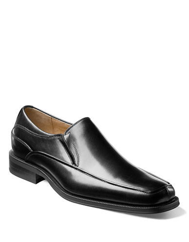 Florsheim Corvell Leather Moc Toe Shoes-BLACK-7.5