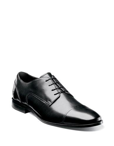 Florsheim Jet Leather Cap-Toe Oxfords-BLACK-8W