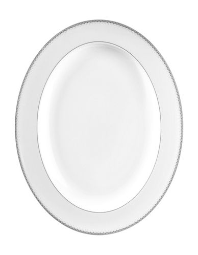 Monique Lhuillier Waterford Dentelle Oval Platter-WHITE-One Size
