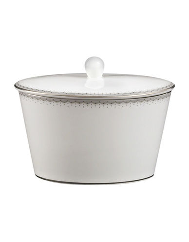 Monique Lhuillier Waterford Dentelle Covered Sugar Bowl-WHITE-One Size