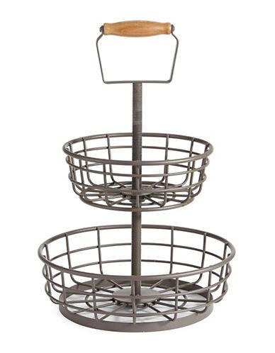Glucksteinhome French Market Two Tier Basket-GREY-One Size