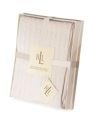 Lauren Ralph Lauren Cotton Cable-Knit Throw-BEIGE-One Size