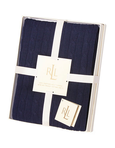 Lauren Ralph Lauren Cotton Cable-Knit Throw-NAVY-One Size