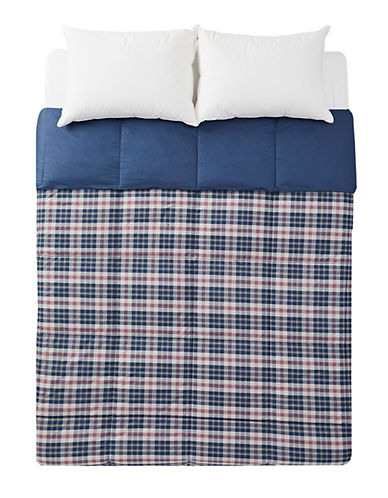Lauren Ralph Lauren Randolph Plaid Reversible Down Alternative 200 Thread Count Cotton Duvet-BLUE-Twin