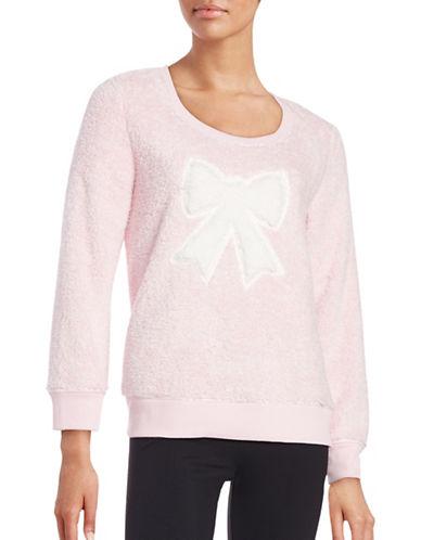 Roudelain Faux Fur Graphic Sweatshirt-PINK-Large