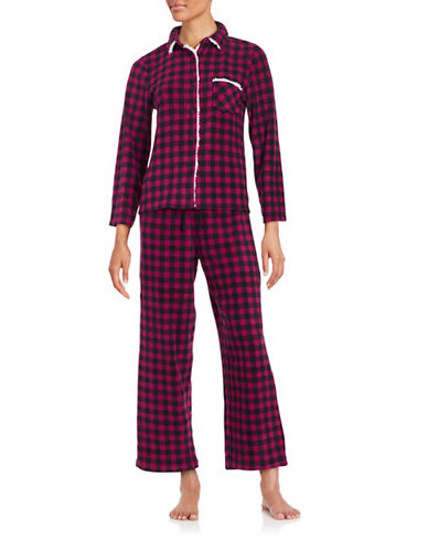 Roudelain Plus Collar Shirt and Pants Sleep Set-RED-Small
