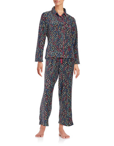 Roudelain Plus Collar Shirt and Pants Sleep Set-GREY MULTI-Large
