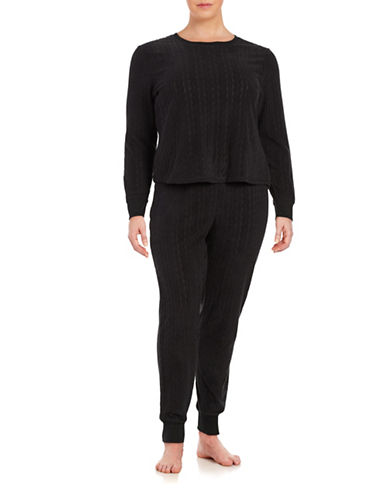 Roudelain Textured Knit Pajama Set-BLACK-Small