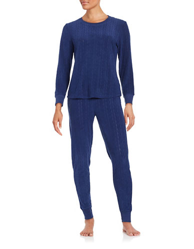 Roudelain Textured Knit Pajama Set-BLUE-X-Large