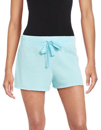 Roudelain Soft Touch Textured Drawstring Shorts-BLUE-Large