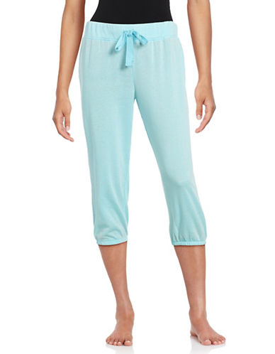 Roudelain Cropped Drawstring Lounge Pants-BLUE-Large