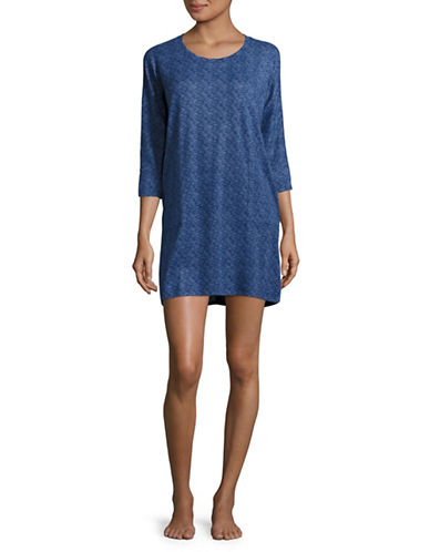 Roudelain Space-Dyed Three-Quarter-Sleeve Sleep Dress-BLUE-Small
