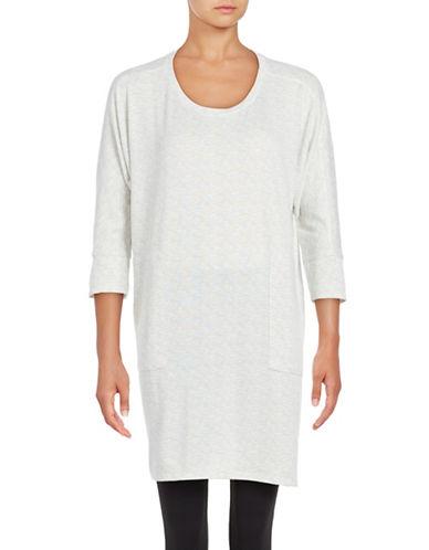 Roudelain Space-Dyed Three-Quarter-Sleeve Sleep Dress-WHITE-Medium