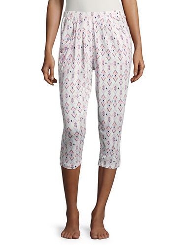 Roudelain Abstract-Print Capri Pants-WHITE MULTI-Large