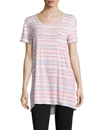 Roudelain Round Hi-Lo Stripe Sleepshirt-PINK STRIPE-Medium
