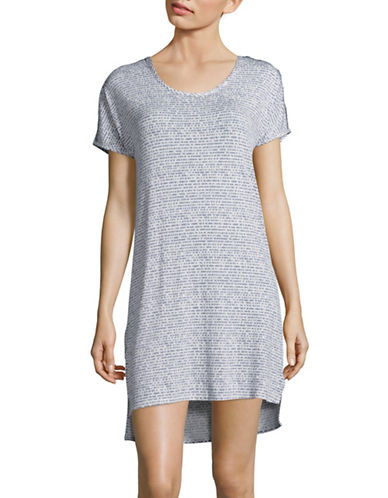 Roudelain Elephant Print Scoop Neck Sleep Shirt-NATURAL-Small