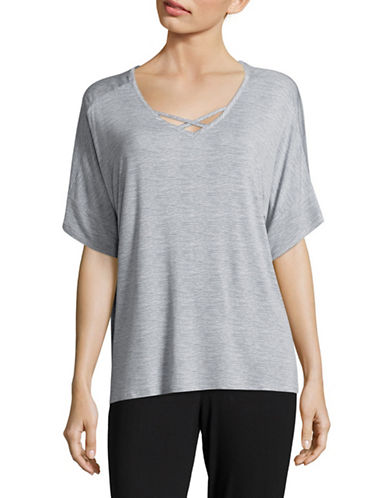 Roudelain Crisscross Short Sleeve Sleep Top-GREY-Medium
