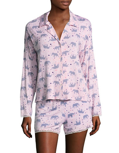 Roudelain Notch Collar Knit Pyjama Set-PINK-Large